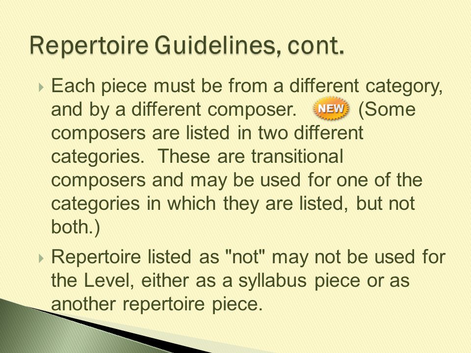 Each piece must be from a different category, and by a different composer. (Some composers are listed in two different categories. These are transit