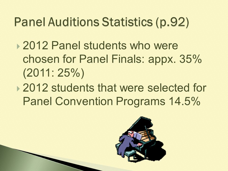  2012 Panel students who were chosen for Panel Finals: appx. 35% (2011: 25%)  2012 students that were selected for Panel Convention Programs 14.5%