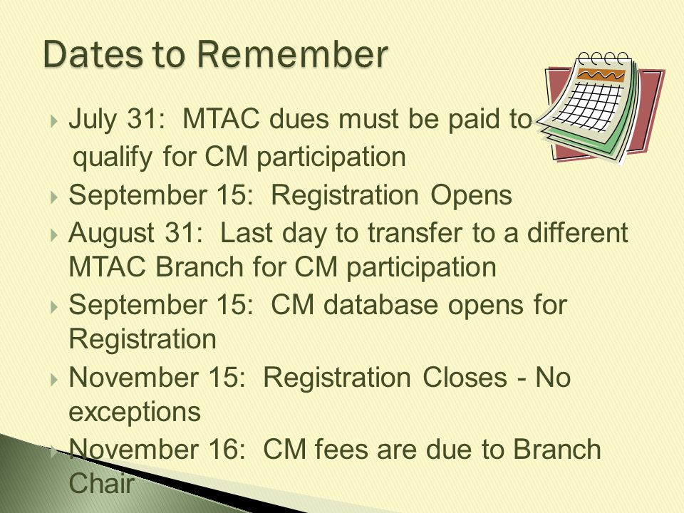 Members who enroll students on another teacher s behalf risk the following: Forfeiting the privilege of participating in Certificate of Merit and other MTAC programs Loss of membership Student teachers in your studio must be members Each teacher at a school who enters students in CM must be a member
