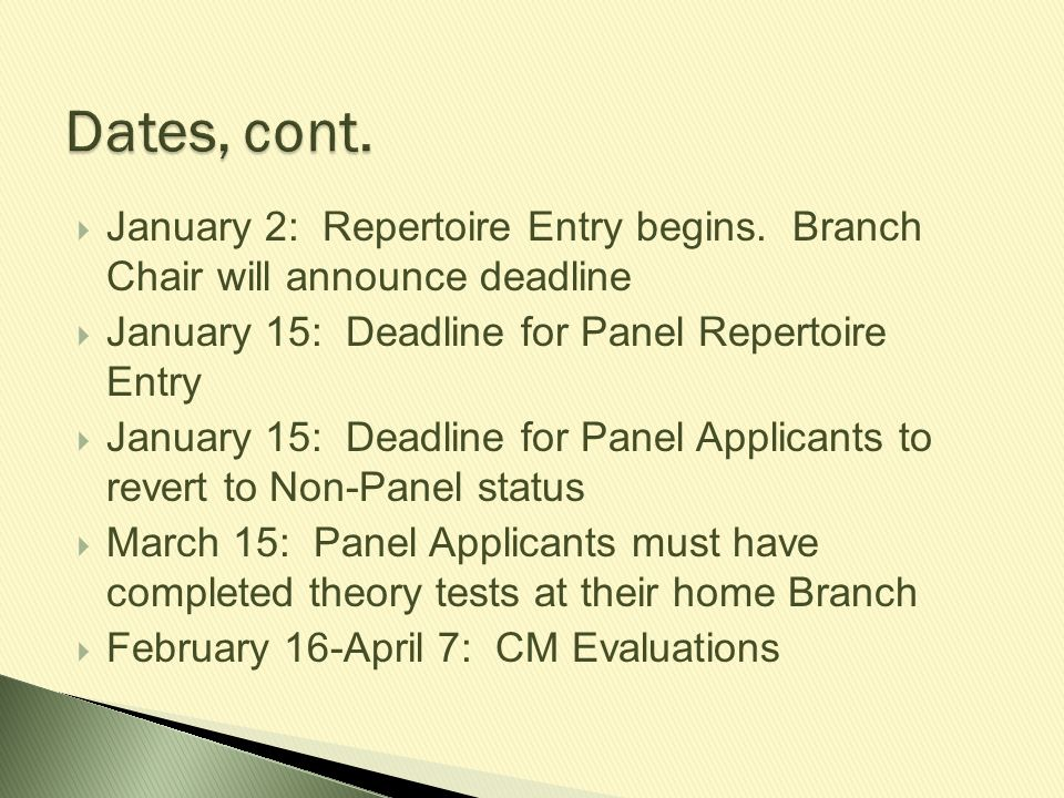  April 8: Theory tests may be returned to teachers  April 15: Convention Application Deadline.