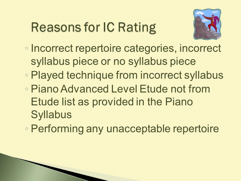 ◦ Incorrect repertoire categories, incorrect syllabus piece or no syllabus piece ◦ Played technique from incorrect syllabus ◦ Piano Advanced Level Etu