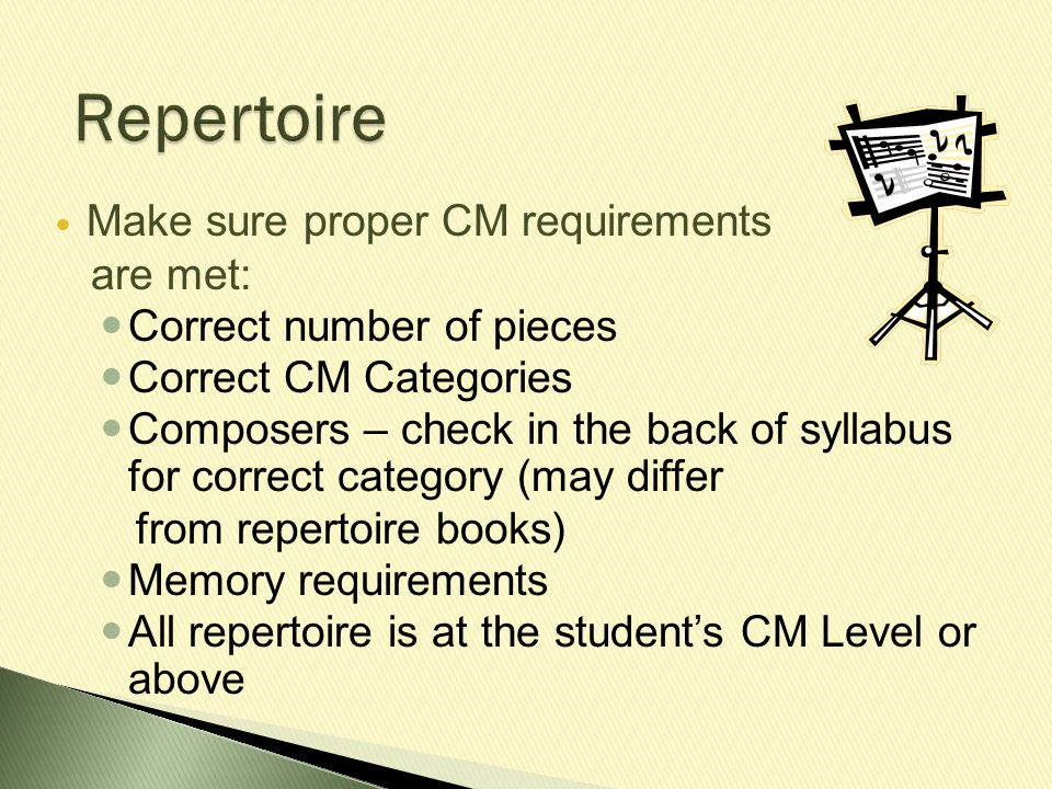 Make sure proper CM requirements are met: Correct number of pieces Correct CM Categories Composers – check in the back of syllabus for correct categor