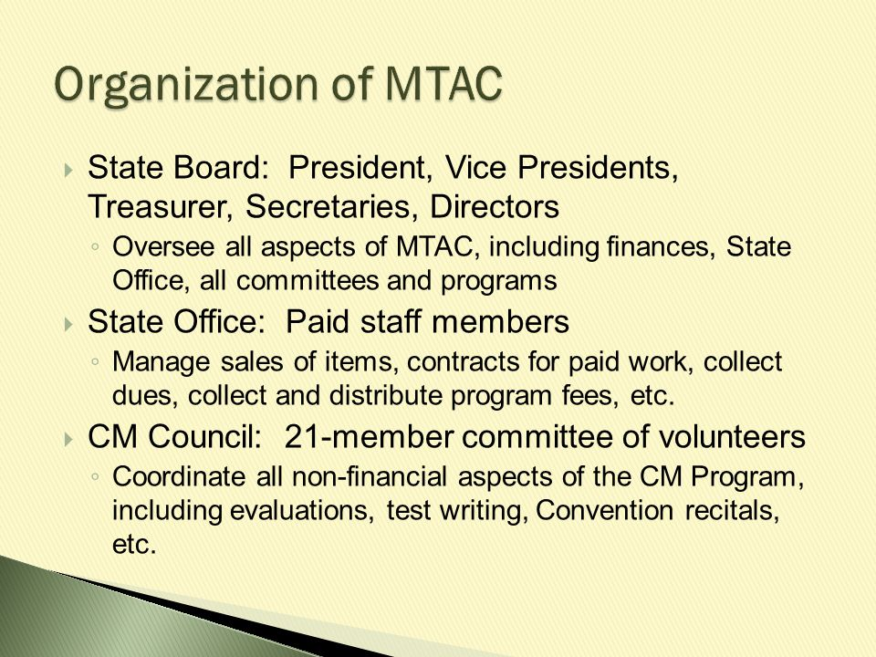  Read the Panel Auditions Guidelines at www.mtac.org  Three programs: ◦ Panel Honors Recitals ◦ Master Class ◦ Young Artist Guild  Certain school grades and past CM participation apply