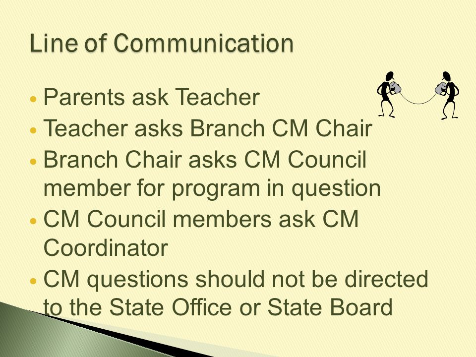 If a student does not participate in CM for one or more years after receiving RAL or failing theory, he or she still must take the same level again and pass before proceeding.
