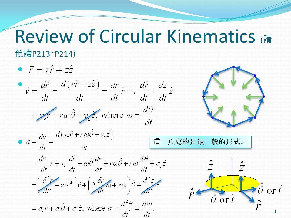 Review of Circular Kinematics ( 請 預讀 P213~P214) 4 這一頁寫的是最一般的形式。