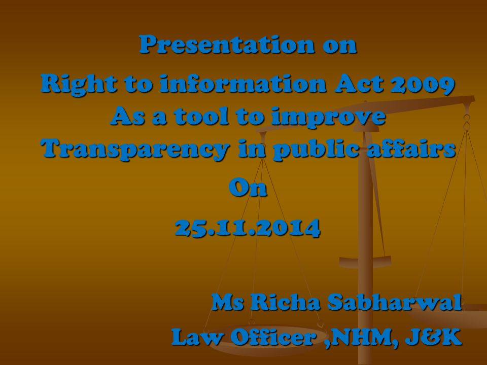  Introduction  History of the Act  Aims and Objectives of the Act  Applicability of Act  Key Provisions of the Act