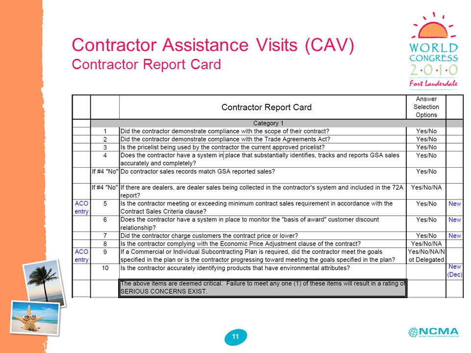 Contractor Assistance Visits (CAV) Contractor Report Card 11