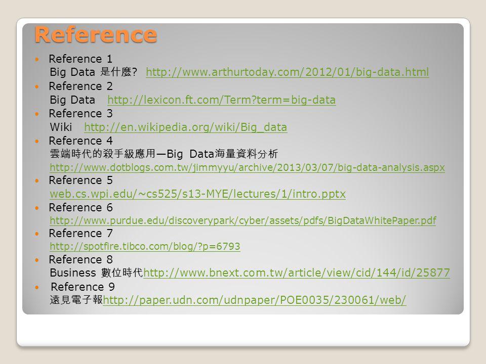 Reference Reference 1 Big Data 是什麼 ? http://www.arthurtoday.com/2012/01/big-data.htmlhttp://www.arthurtoday.com/2012/01/big-data.html Reference 2 Big