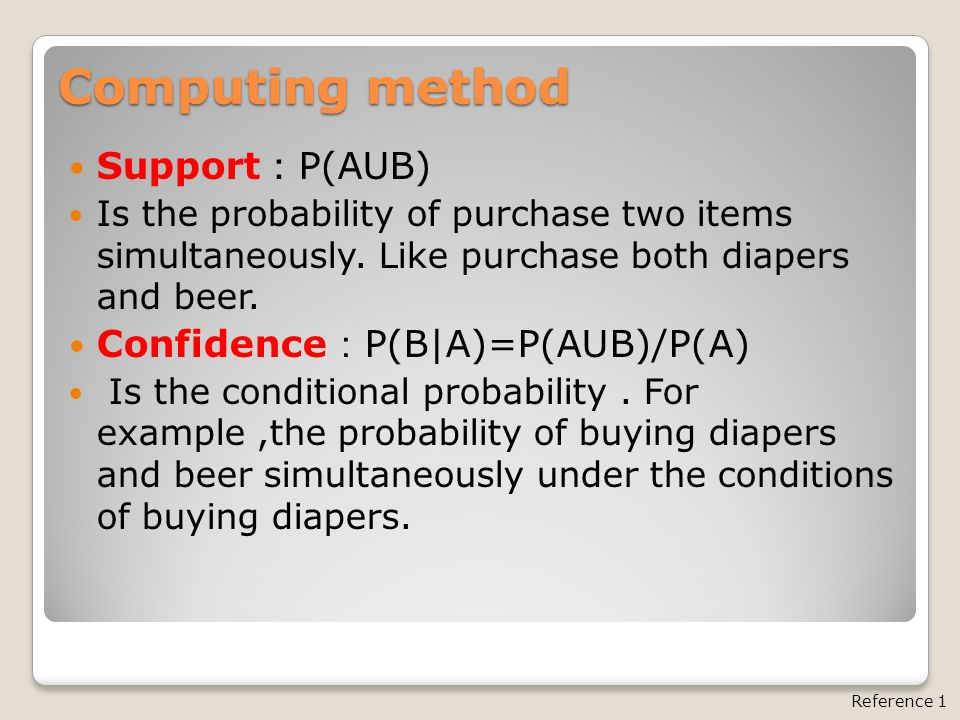 Computing method Support : P(AUB) Is the probability of purchase two items simultaneously.