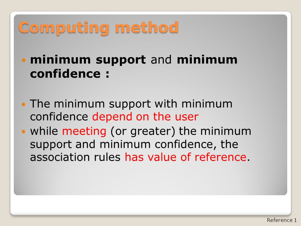 minimum support and minimum confidence : The minimum support with minimum confidence depend on the user while meeting (or greater) the minimum support