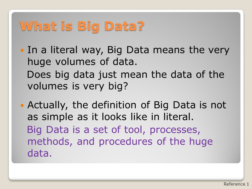 Big Data Definitions Big data is the term used to describe the huge volumes of data generated by traditional business activities and from new sources such as social media. Typical big data includes information from stores, bank ATMs, Facebook posts and YouTube videos.