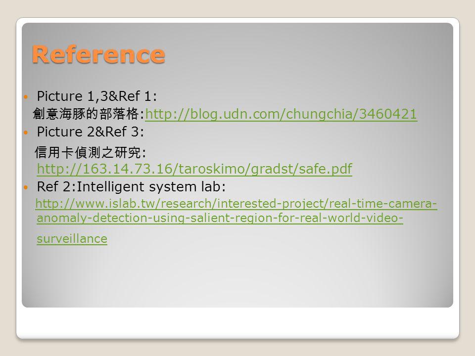 Reference Picture 1,3&Ref 1: 創意海豚的部落格 :http://blog.udn.com/chungchia/3460421http://blog.udn.com/chungchia/3460421 Picture 2&Ref 3: 信用卡偵測之研究 : http://1
