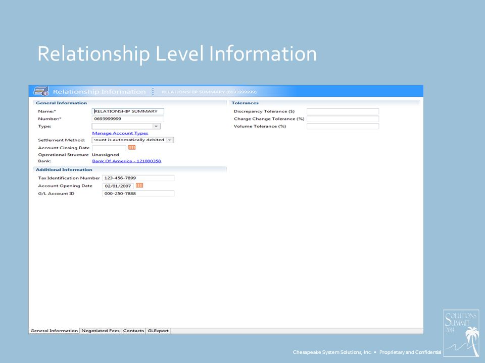 Chesapeake System Solutions, Inc. Proprietary and Confidential Relationship Level Information