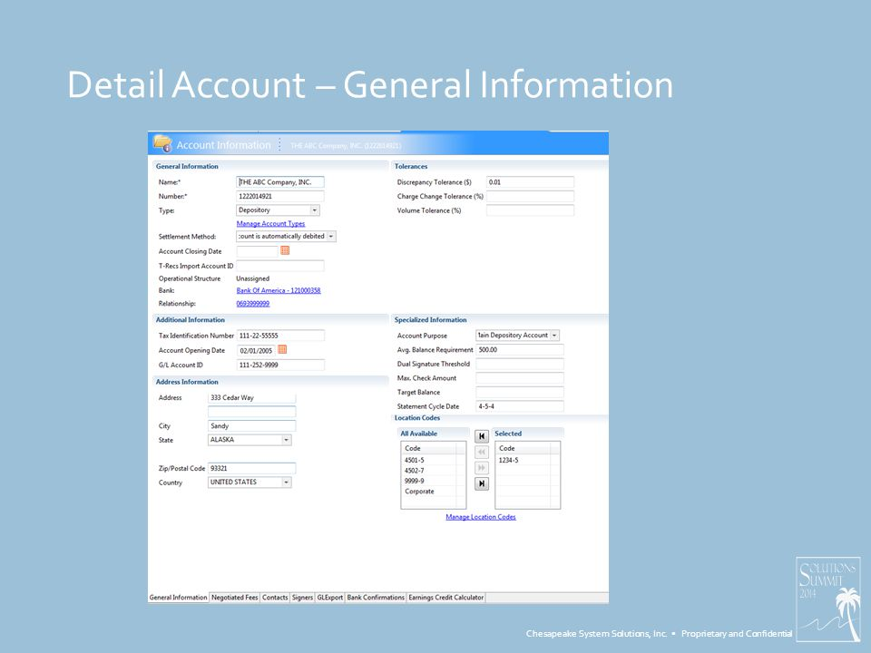 Chesapeake System Solutions, Inc. Proprietary and Confidential Detail Account – General Information