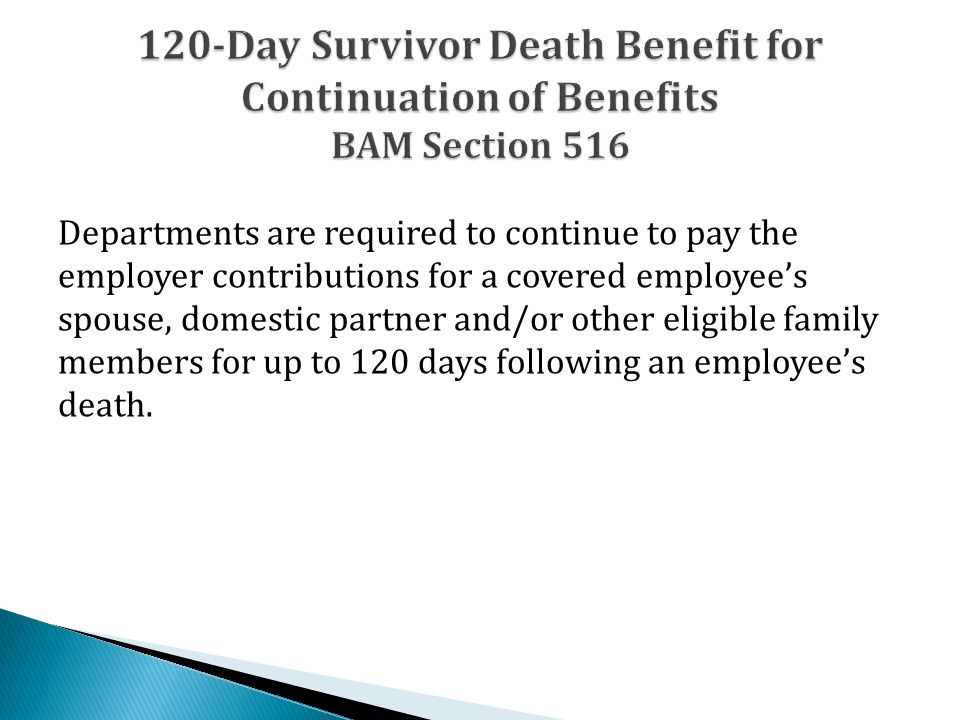 Departments are required to continue to pay the employer contributions for a covered employee's spouse, domestic partner and/or other eligible family members for up to 120 days following an employee's death.