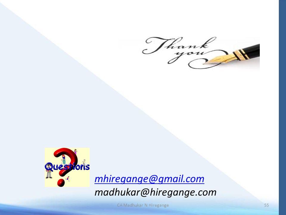 55CA Madhukar N Hiregange mhiregange@gmail.com madhukar@hiregange.com