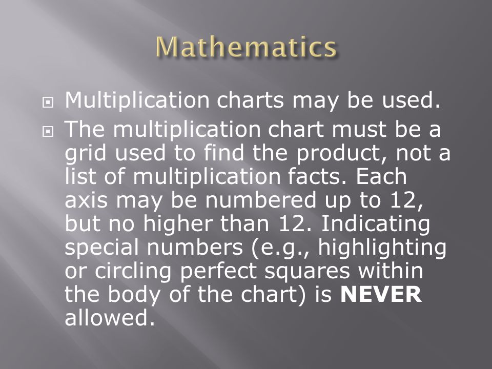  Multiplication charts may be used.  The multiplication chart must be a grid used to find the product, not a list of multiplication facts. Each axis