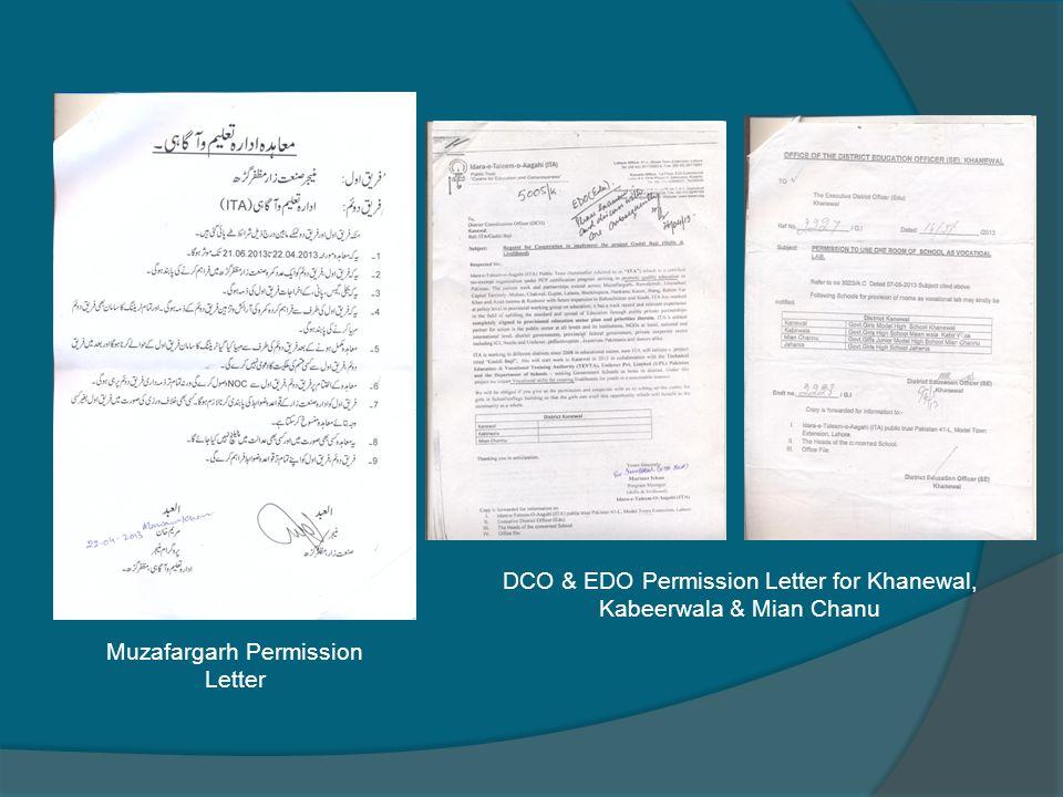 Muzafargarh Permission Letter DCO & EDO Permission Letter for Khanewal, Kabeerwala & Mian Chanu