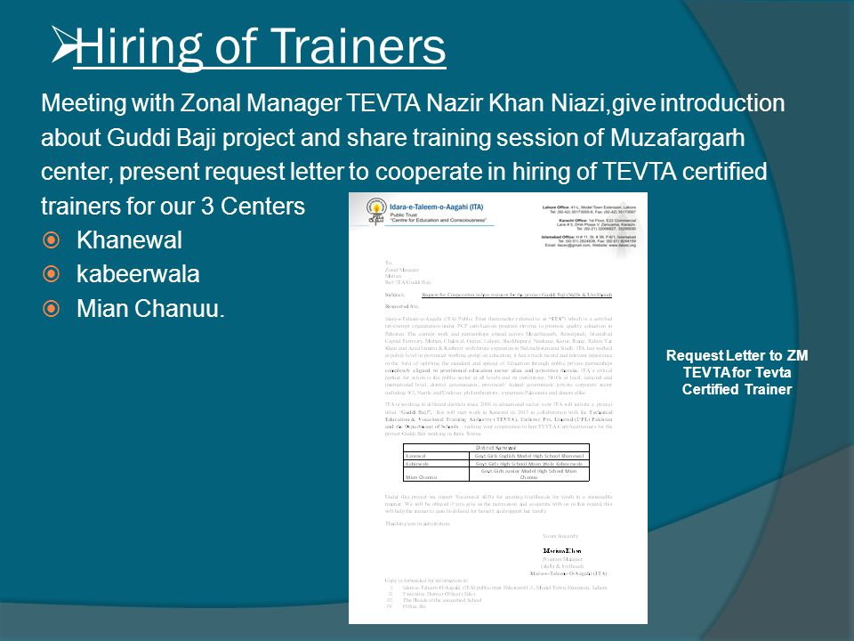  Hiring of Trainers Meeting with Zonal Manager TEVTA Nazir Khan Niazi,give introduction about Guddi Baji project and share training session of Muzafa