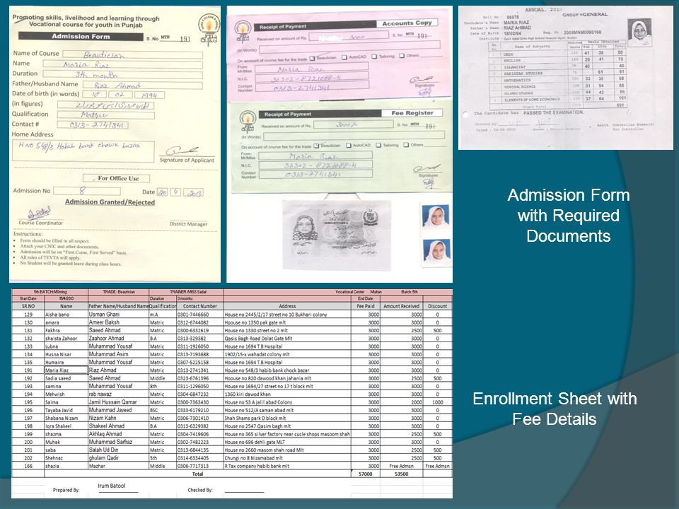Admission Form with Required Documents Enrollment Sheet with Fee Details