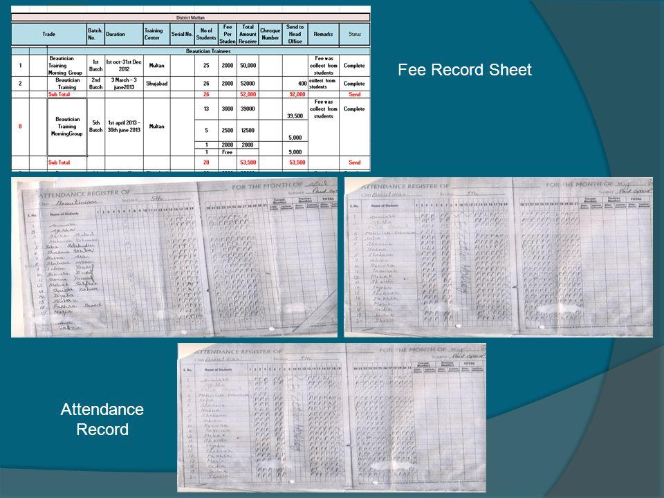 Fee Record Sheet Attendance Record