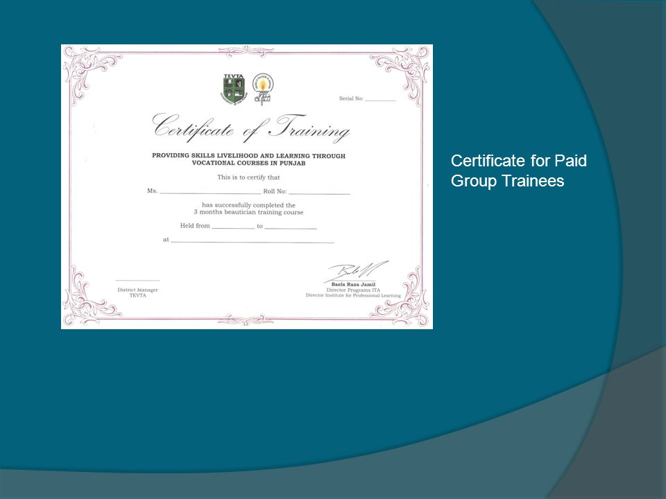 Certificate for Paid Group Trainees