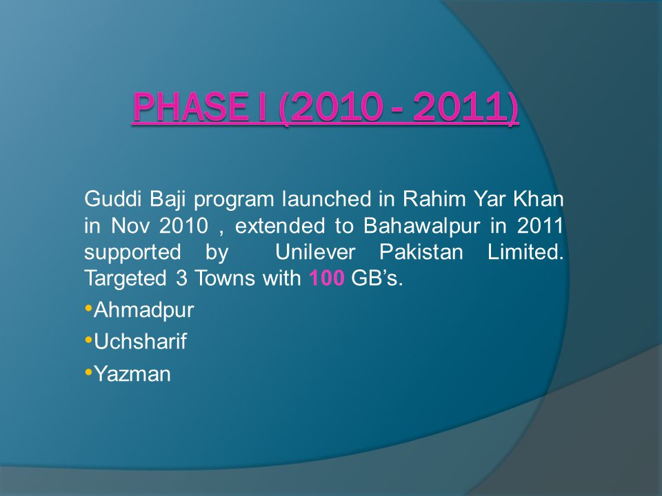 Guddi Baji program launched in Rahim Yar Khan in Nov 2010, extended to Bahawalpur in 2011 supported by Unilever Pakistan Limited. Targeted 3 Towns wit