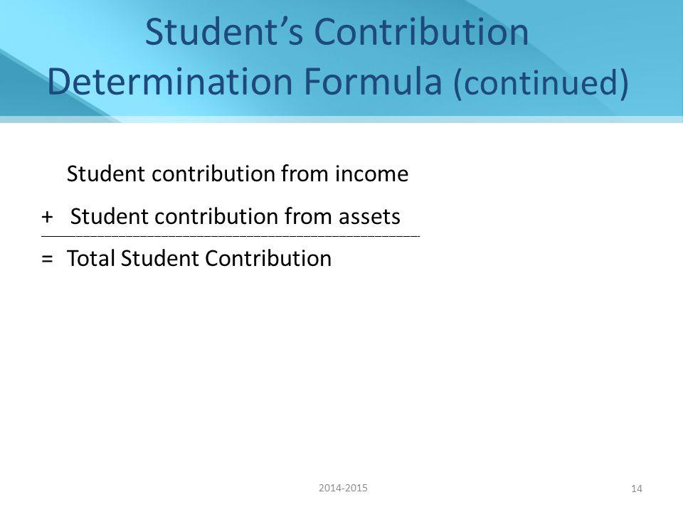 Student's Contribution Determination Formula (continued) Student contribution from income + Student contribution from assets _________________________________________________________________________________________________________________________________________________________________ = Total Student Contribution 2014-2015 14