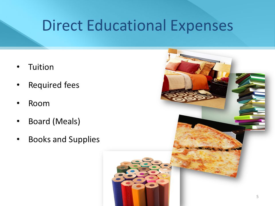 6 Indirect Educational Expenses Transportation – Does not include the lease/purchase of a vehicle Miscellaneous personal expenses, including documented costs for a personal computer Loan fees 2014-2015