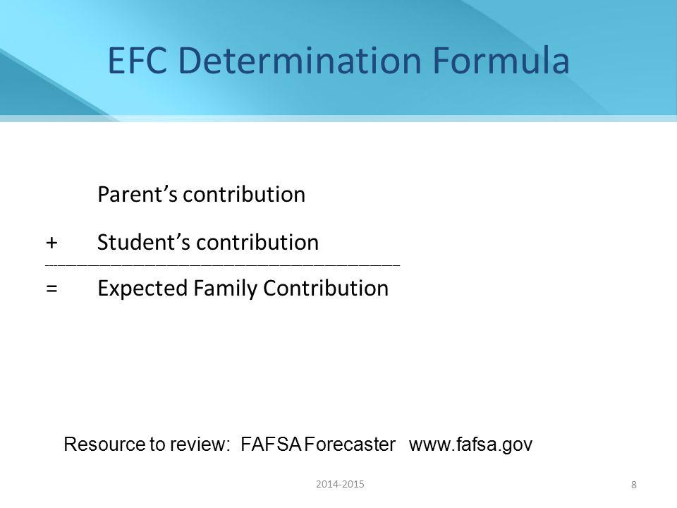 8 EFC Determination Formula Parent's contribution +Student's contribution ______________________________________________________________________________________________ =Expected Family Contribution Resource to review: FAFSA Forecaster www.fafsa.gov 2014-2015