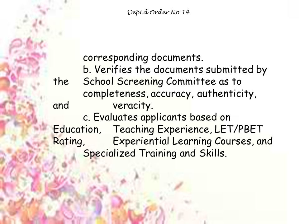 DepEd Order No.14 corresponding documents.b.