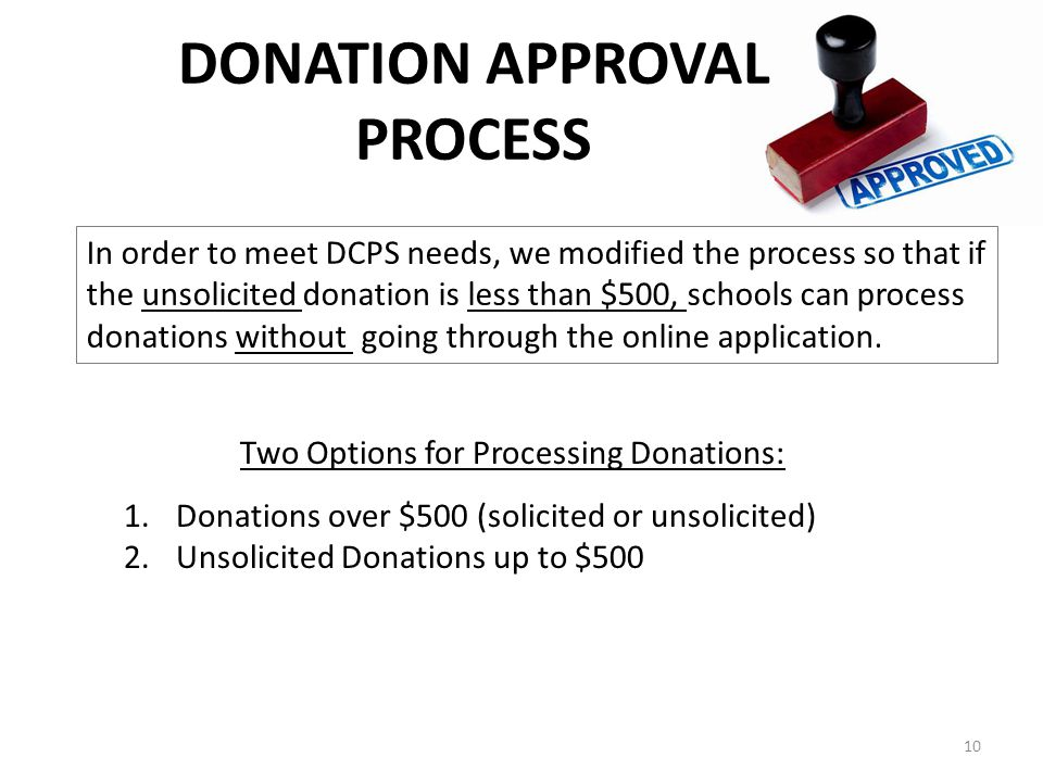 DONATION APPROVAL PROCESS In order to meet DCPS needs, we modified the process so that if the unsolicited donation is less than $500, schools can process donations without going through the online application.