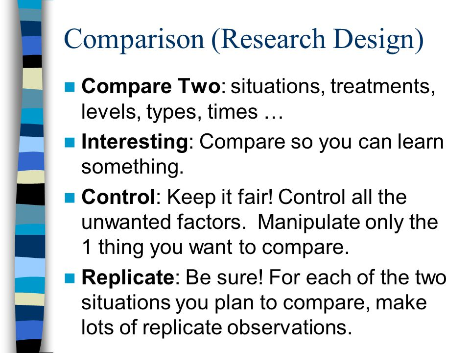 Comparison (Research Design) Compare Two: situations, treatments, levels, types, times … Interesting: Compare so you can learn something. Control: Kee