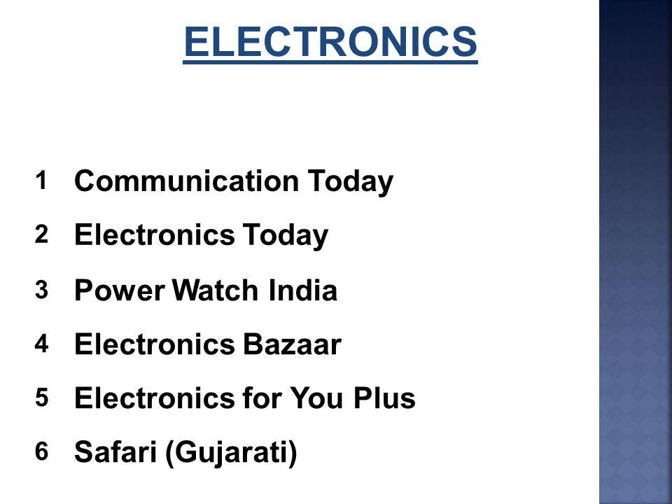 ELECTRONICS 1 Communication Today 2 Electronics Today 3 Power Watch India 4 Electronics Bazaar 5 Electronics for You Plus 6 Safari (Gujarati)