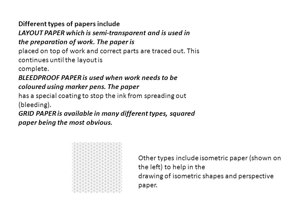 Different types of papers include LAYOUT PAPER which is semi-transparent and is used in the preparation of work.