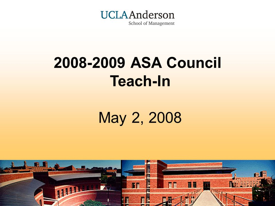 ASA Council Teach-In 32 Open Communication Be aware of multiple people contacting the same company Cross check with the Ofc of Dev for pending gifts ($$$) Document & use the sponsorship invoice located at: my.anderson.ucla.edu Student Life Tab ASA Sponsorship Invoice Form