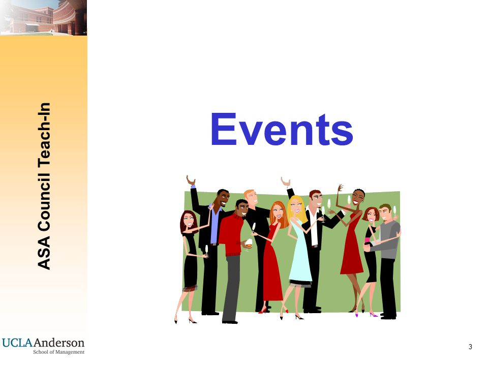 ASA Council Teach-In 14 Some helpful ideas Example for event planning/checklists Include: Timeline Budget Contacts Audio/Visual Catering needs Marketing game-plan Parking/gifts/name tags/ other logistics Day of timeline When in doubt – (first refer to the Event Guidelines) – then ASK!!.