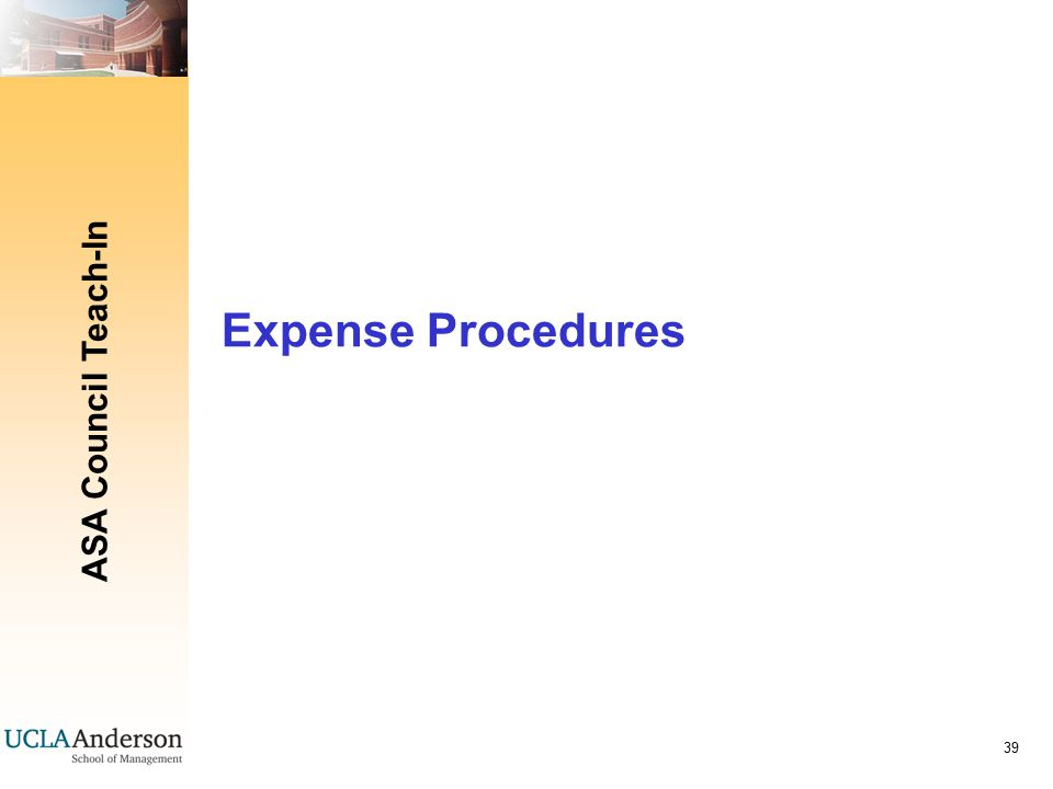 ASA Council Teach-In 39 Expense Procedures