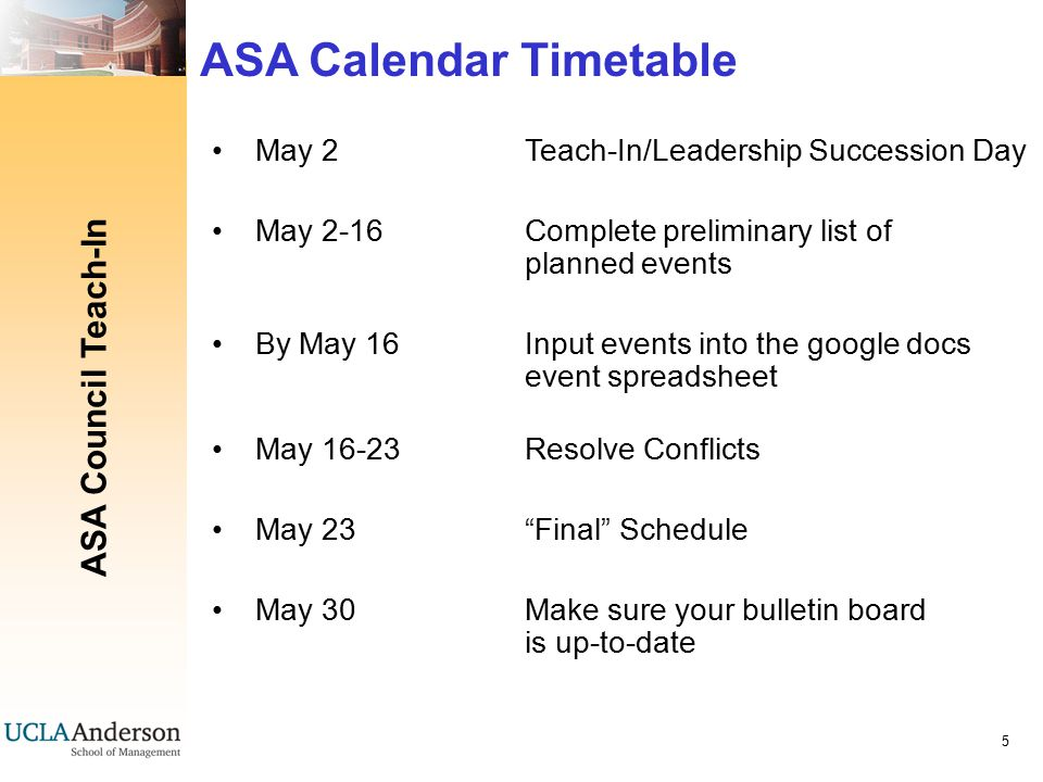 ASA Council Teach-In 6 ASA Club Events: Reserving Rooms Make your event online requests at website: http://www2.anderson.ucla.edu/epwebsql Wait until the fall academic schedule has been set and is in the reservation system before requesting rooms Office will send out an invitation email (August) alerting you that the system is available to accept fall requests Strict cancellation policy (p.