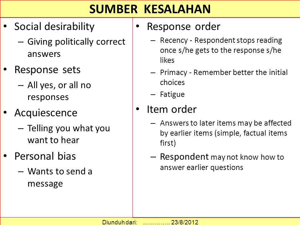 SUMBER KESALAHAN Social desirability – Giving politically correct answers Response sets – All yes, or all no responses Acquiescence – Telling you what you want to hear Personal bias – Wants to send a message Diunduh dari: …………..