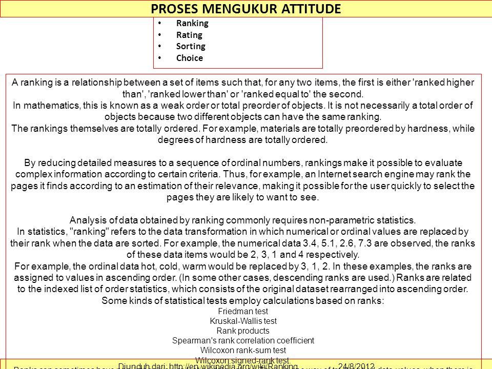 PROSES MENGUKUR ATTITUDE Ranking Rating Sorting Choice Diunduh dari: http://en.wikipedia.org/wiki/Ranking ………….. 24/8/2012 A ranking is a relationship