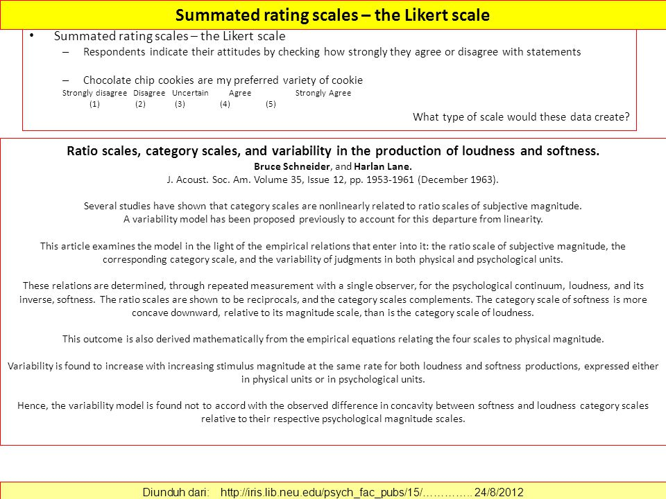 Summated rating scales – the Likert scale – Respondents indicate their attitudes by checking how strongly they agree or disagree with statements – Chocolate chip cookies are my preferred variety of cookie Strongly disagree Disagree UncertainAgreeStrongly Agree (1) (2) (3) (4) (5) What type of scale would these data create.