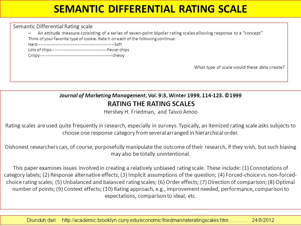 Semantic Differential Rating scale – An attitude measure consisting of a series of seven-point bipolar rating scales allowing response to a concept Think of your favorite type of cookie.