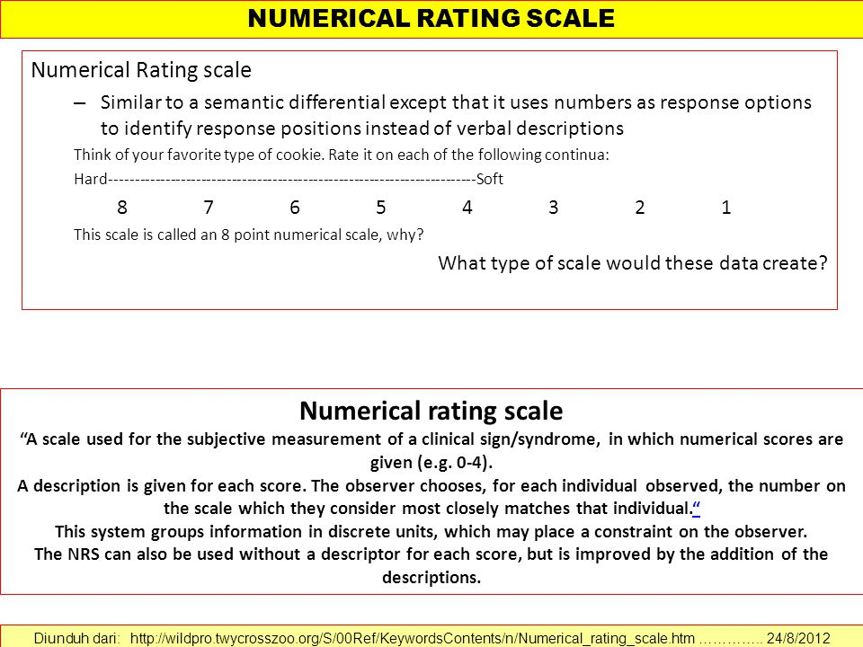 Numerical Rating scale – Similar to a semantic differential except that it uses numbers as response options to identify response positions instead of verbal descriptions Think of your favorite type of cookie.