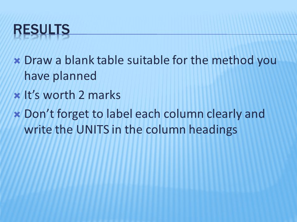  Draw a blank table suitable for the method you have planned  It's worth 2 marks  Don't forget to label each column clearly and write the UNITS in