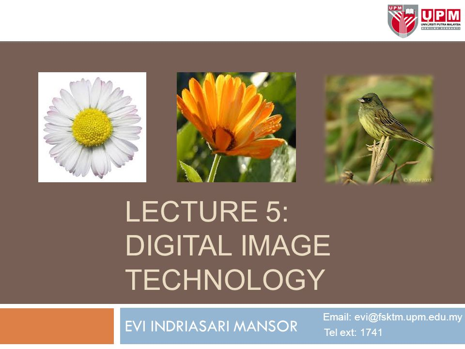 LECTURE 5: DIGITAL IMAGE TECHNOLOGY EVI INDRIASARI MANSOR Email: evi@fsktm.upm.edu.my Tel ext: 1741 1