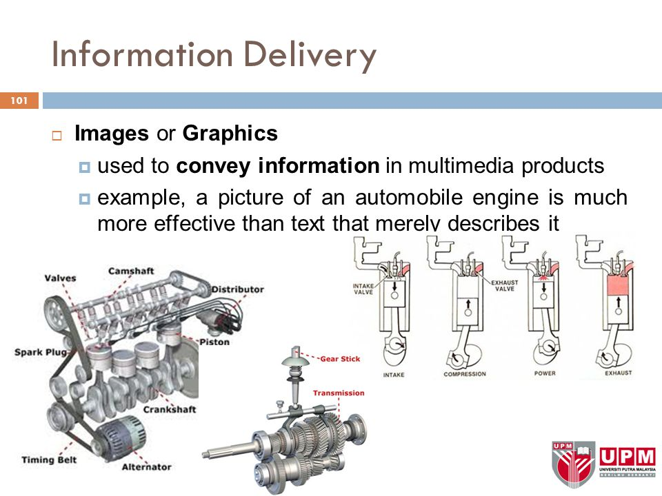 Information Delivery  Images or Graphics  used to convey information in multimedia products  example, a picture of an automobile engine is much more effective than text that merely describes it 101
