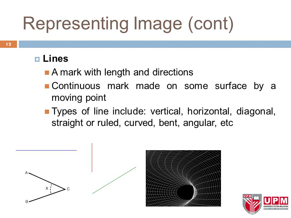 Representing Image (cont)  Lines A mark with length and directions Continuous mark made on some surface by a moving point Types of line include: vertical, horizontal, diagonal, straight or ruled, curved, bent, angular, etc 12