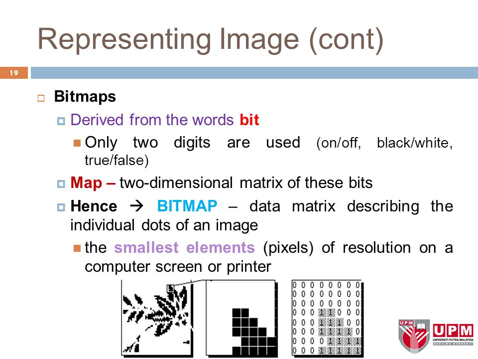 Representing Image (cont)  Bitmaps  Derived from the words bit Only two digits are used (on/off, black/white, true/false)  Map – two-dimensional matrix of these bits  Hence  BITMAP – data matrix describing the individual dots of an image the smallest elements (pixels) of resolution on a computer screen or printer 19