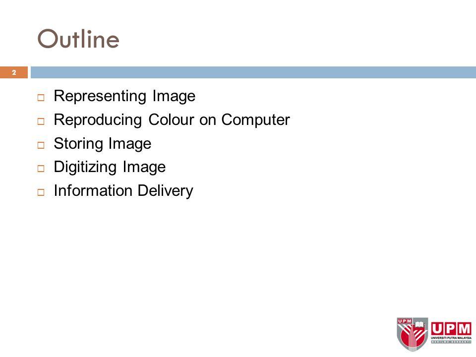 Representing Image (cont)  Bitmaps (cont) – Bits per pixel 23 1 bit1 - Monochrome 8 bits – 256 colors 16 bits – 65K colors 24 bits per pixel allows millions of colors (i.e.